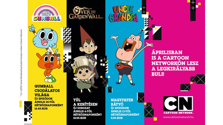 A Cartoon Network csatorna áprilistól 24 órás műsorsugárzással és és új sorozatokkal, évadokkal látható