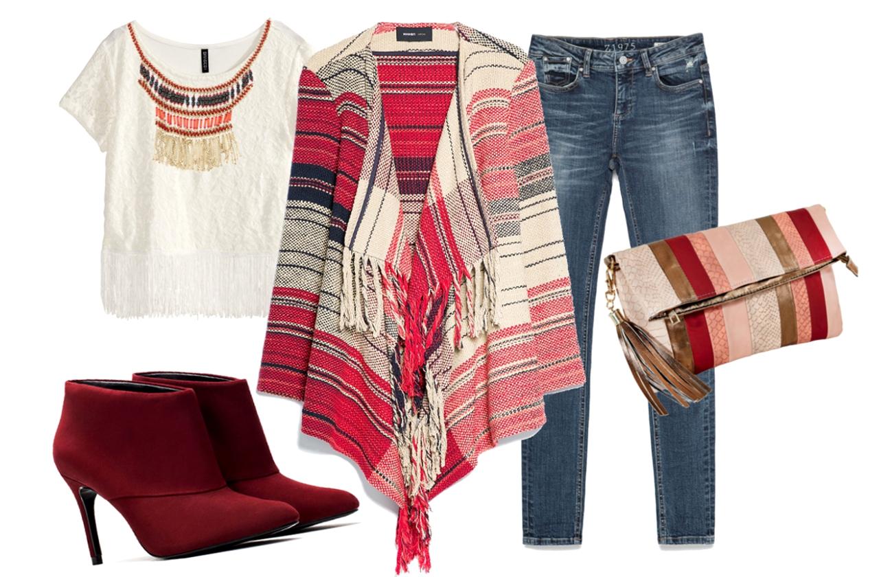 Póló: H&M, poncsó: Mango, nadrág, cipő: Zara, nyaklánc: Camaieu, táska: Bijou Brigitte