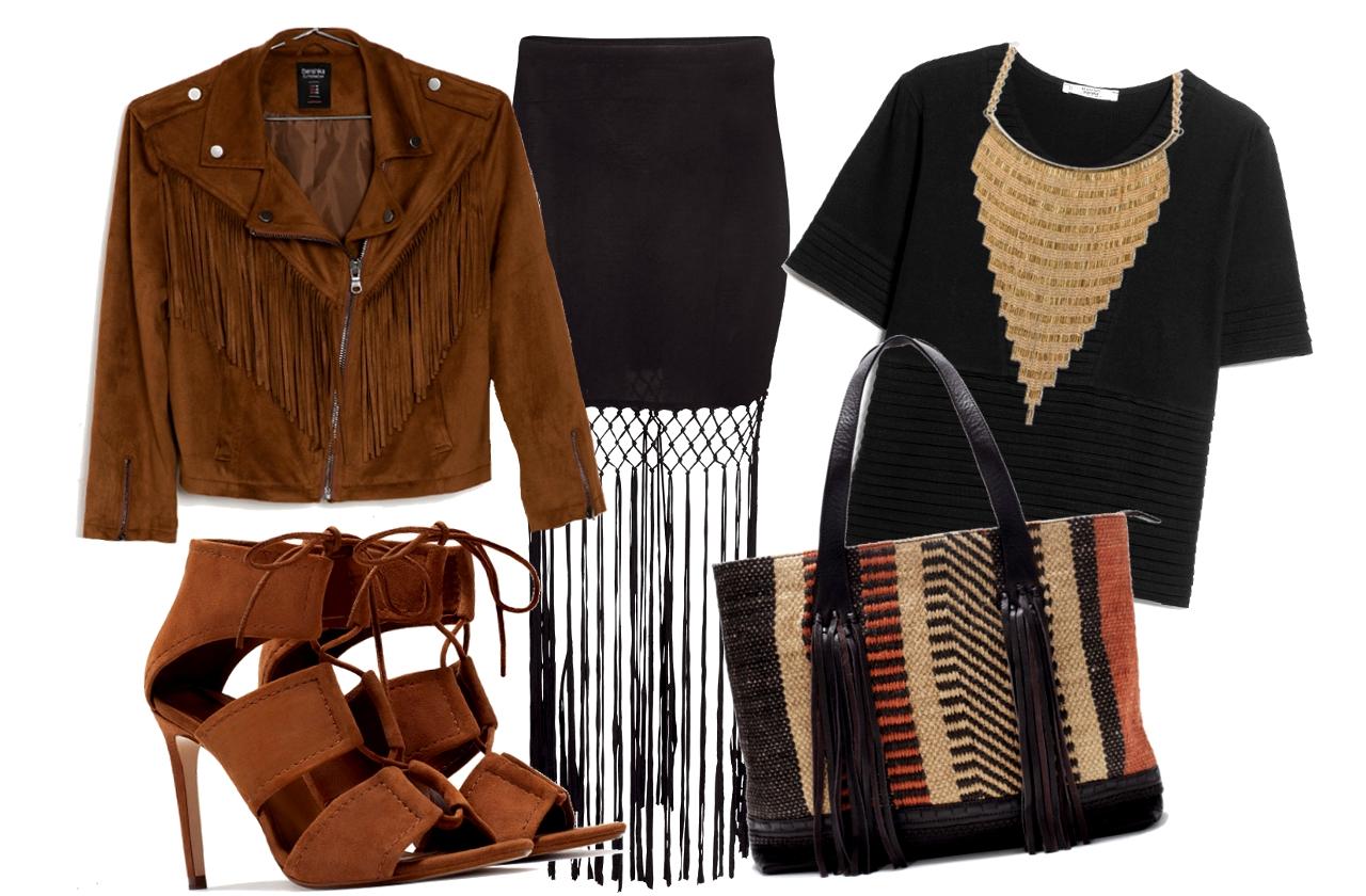 Kabát, nyakék: Bershka, póló: Mango, szoknya: H&M, cipő, táska: Zara