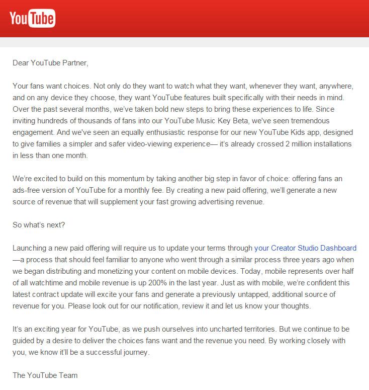 Hivatalos: itt a fizetős youtube