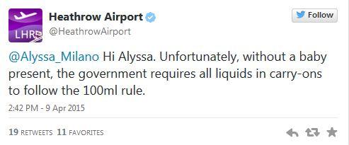 Csecsemő nélkül, nem oké az anyatej - Alyssa Milano esete a Heathrow reptérrel