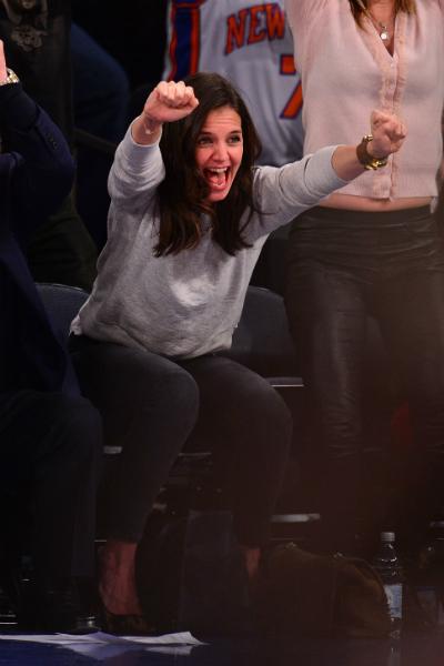 Katie Holmes 2014 januárjában a Miami Heat vs. New York Knicks mérkőzésen jött lázba
