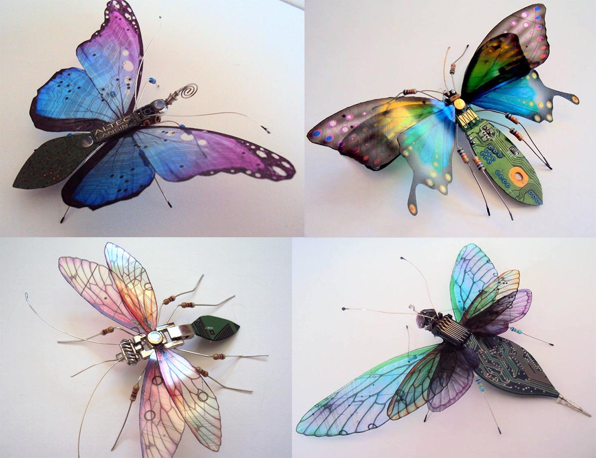 Gyönyörű lepkéket készít a kidobott elektronikai alkatrészekből egy művész