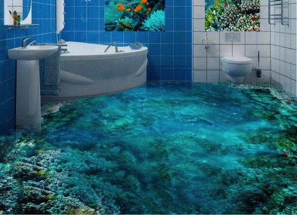Mintha vízen járnál - lenyűgöző 3D-s dizájnötletek fürdőszobába
