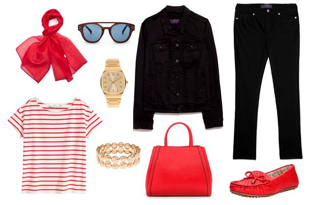 Farmerdzseki, nadrág, táska, napszemüveg: Mango, top: H&M, kendő: Nyakkendőstúdió.hu, óra, karkötő: Parfois, cipő: CCC