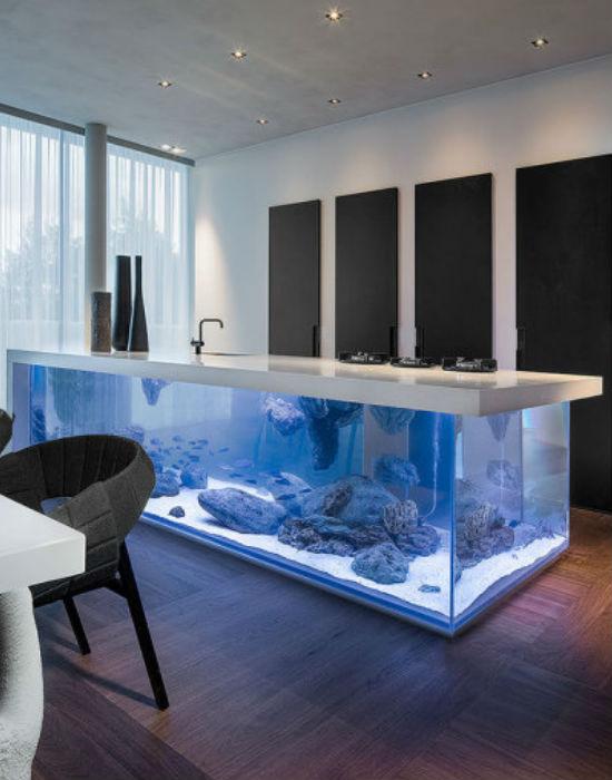 Megaakvárium a konyhában. Jól mutat, nagyon menő, el is fogadnánk! Ki valósítja meg? Fotó: huffingtonpost.com