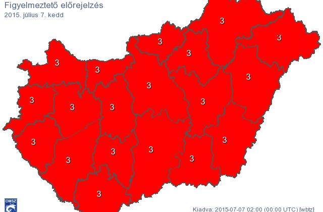 Tovább tart a forróság, ma is pirosban az ország