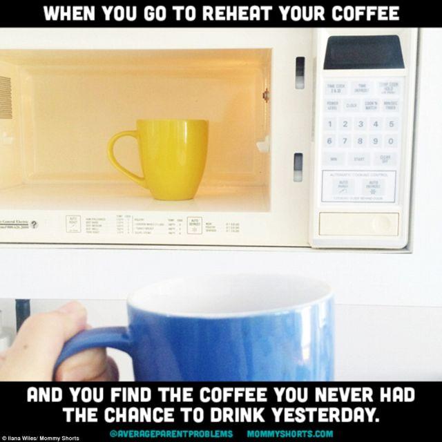 Amikor újra melegítenéd a kávédat és a tegnapi kihűlt kávét találod a mikróban.