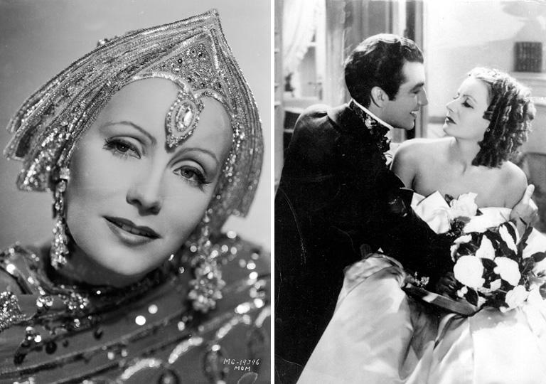Greta Garbo Mata Hari szerepében (balra) és a Camille c. filmben Robert Taylorral (jobbra)