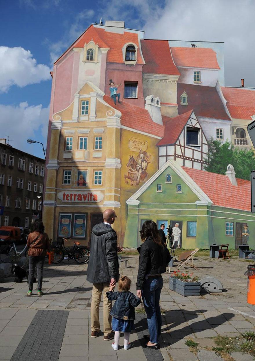 Meseváros Lengyelországban: 3D-ben rajzolták meg az óriási tűzfalat