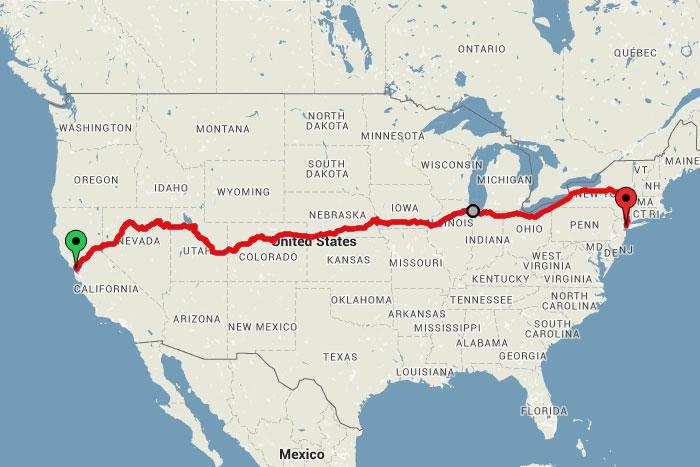 3400 km, San Franciscotól New Yorkig