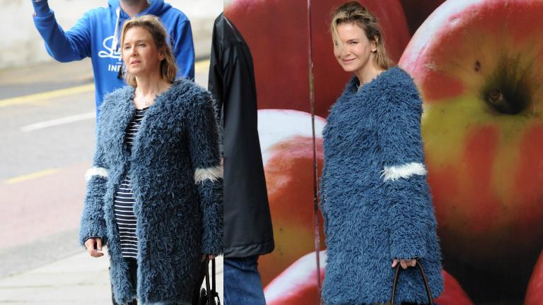 Imádni való a terhes Renée Zellweger a forgatáson
