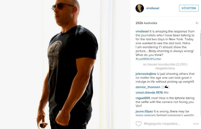 Leolvadt Vin Diesel óriás sörhasa
