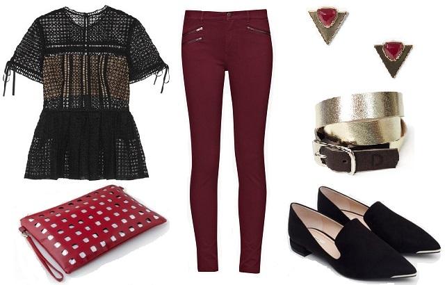 Felső: Asos, nadrág: French Connection, táska: Látomás, cipő: Zara, f ülbevaló: Mango, karkötő: Doridea