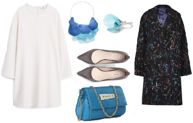 Ruha: Mango, kabát: French Connection, cipő: Zara, táska: Anna Amélie, nyaklánc, fülbevaló: Dorivisy