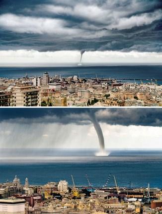 Félelmetes látvány: Genova közelében tornádót fotóztak