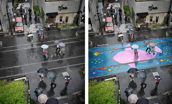 Ha elered az eső, tarkaságba borul az utca