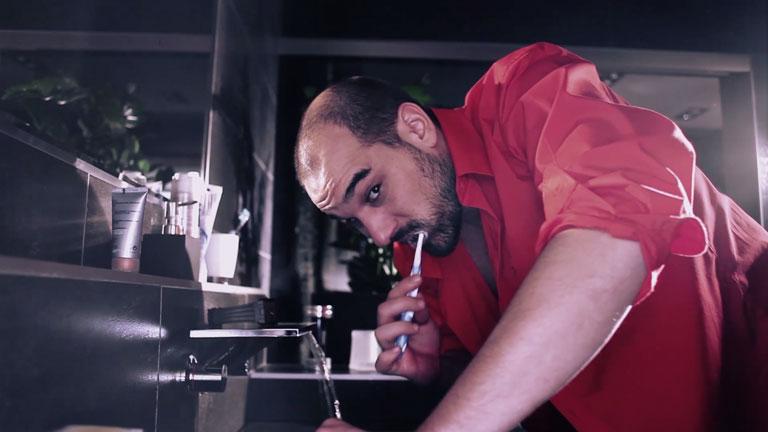 Pál András az egyik sajátos szögből készült jelenet során