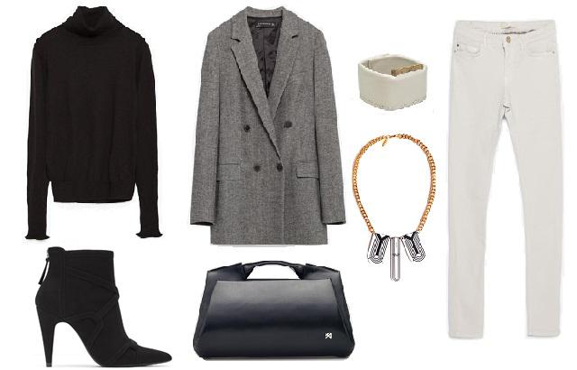 Garbó, blézer, csizma, nadrág: Zara, táska, karkötő: Agneskovacs, nyaklánc: Karman Jewelry