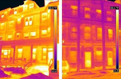 A hőkamerás kép jól mutatja, mennyi energiát pazarlunk. A bal oldali képen egy lakóház, régi szigeteléssel és jobbra a korszerűsítés után.