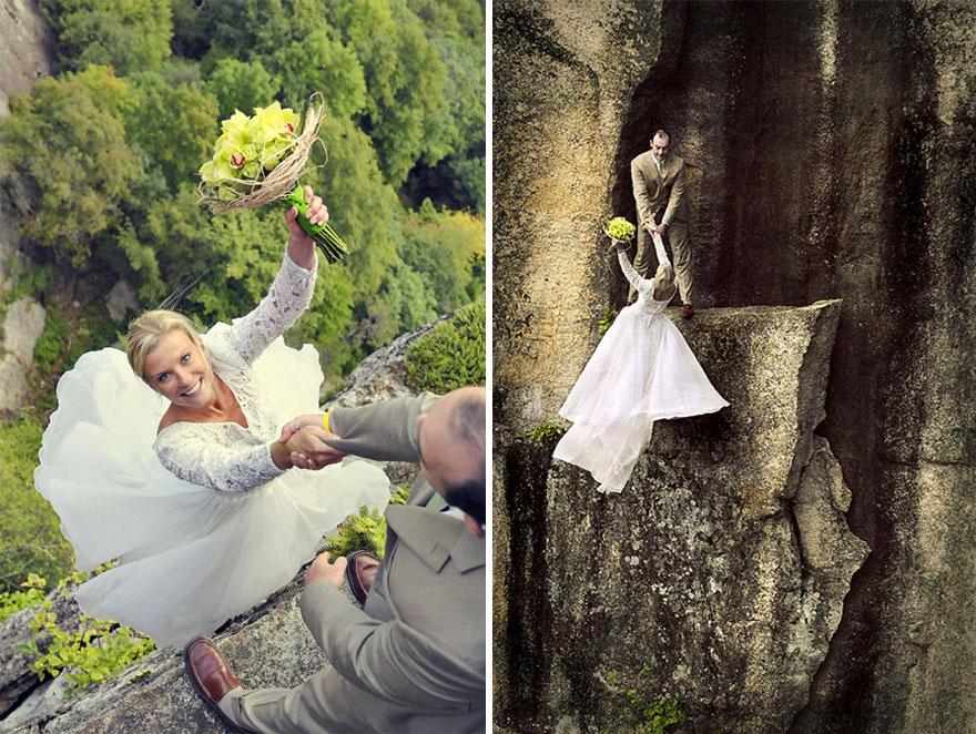 Ilyen egy igazán extrém esküvői fotózás – lélegzetelállító képek