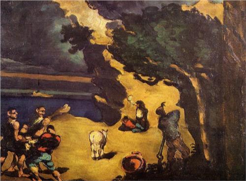A rablók és a szamár: több rétegű mű. Az ókori meséből vett részlet franciául a festő nevének kifigurázása is
