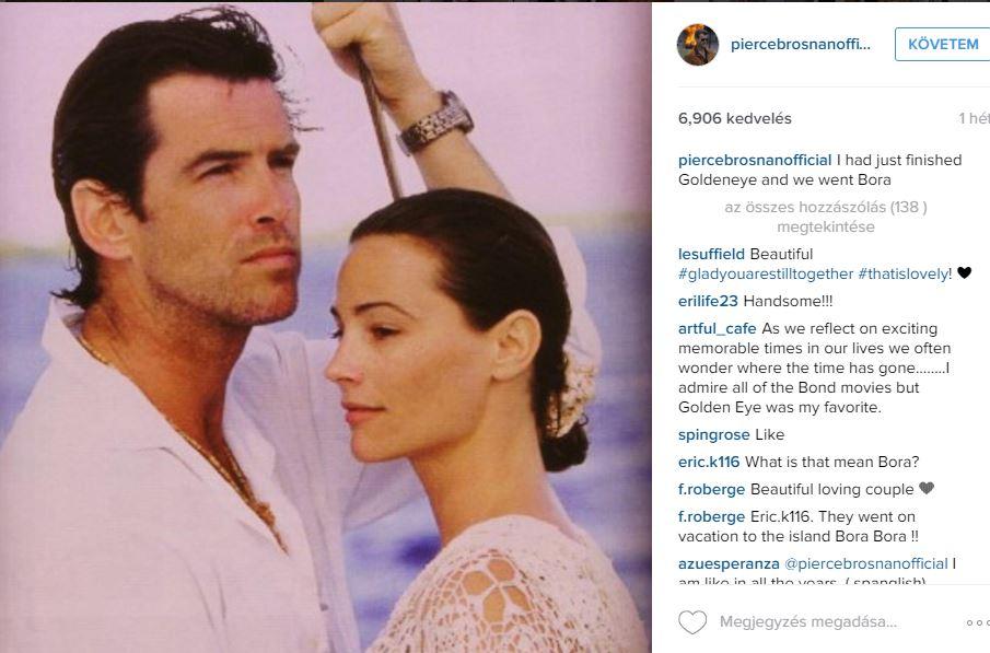 Pierce Brosnan minden alkalommal kifejezi, mennyire odáig van a feleségéért. az esküvőjükről posztolt képe csak egy a sok közül