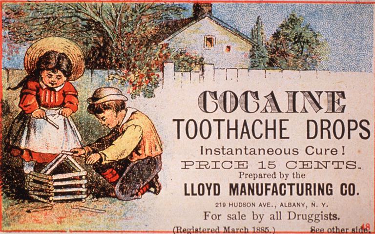 Kokainos fogfájás elleni cseppek reklámja az Egyesült Államokból