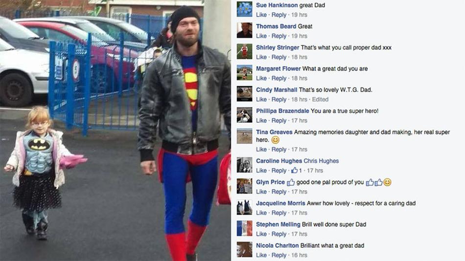 Superman jelmezben sétált az utcán az apa, hogy a lánya jobban érezze magát