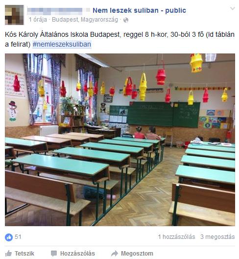 30-ból 3-an mentek ma iskolába a KÓs Károly Általános Iskolában