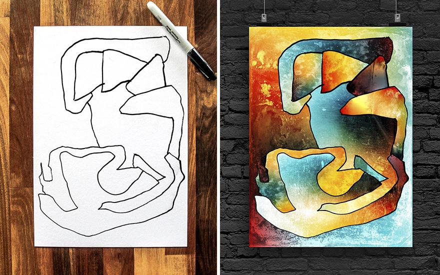 Hároméves gyereke rajzaiból varázsol modern műalkotásokat az apuka