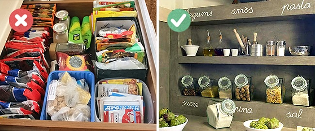 Bontsd ki a csomagolásból a fűszereket és helyezd valamilyen szép tárolódobozba. Átláthatóbbá válik a konyhád!