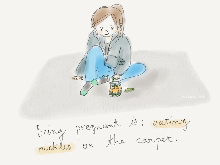 Mókás terhes illusztrációkkal várja babáját a grafikus kismama