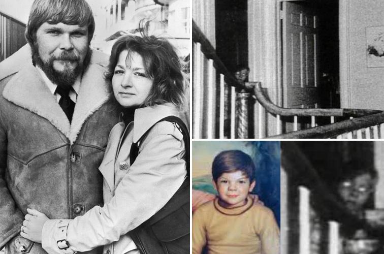 George és Kathy Lutz, jobbra pedig a híres fotó a fiúról
