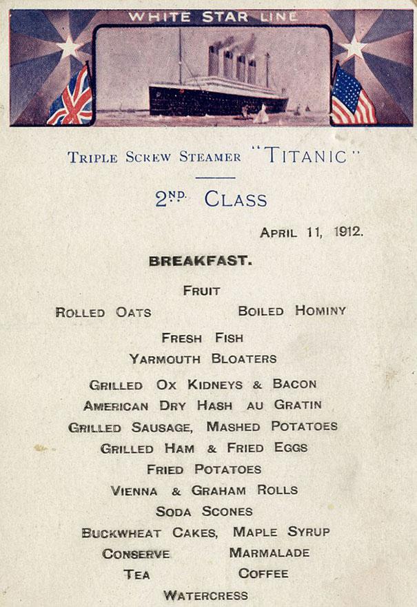 Ezeket a fogásokat szolgálták fel a Titanicon
