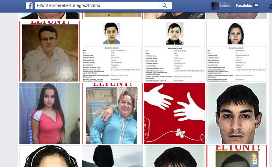 Fotók az Eltűnt emberekért Facebook csoport oldaláról