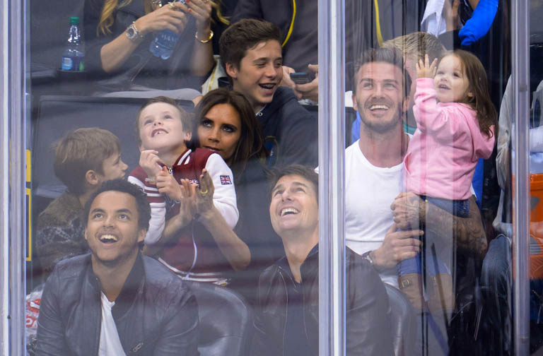 Romeo Beckham, Connor Cruise, Cruz Beckham, Victoria Beckham, Brooklyn Beckham, Tom Cruise, David Beckham and Harper Beckham