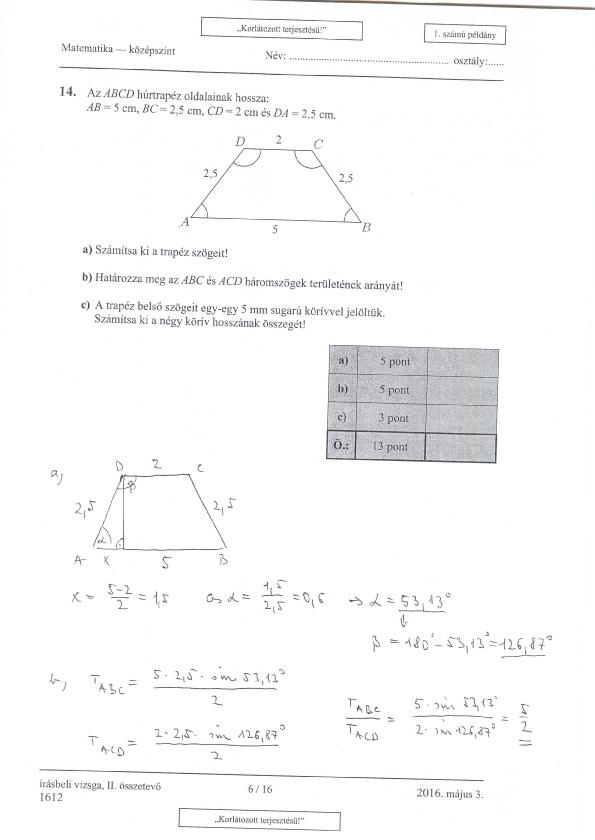 Itt vannak a középszintű matek érettségi megoldásai