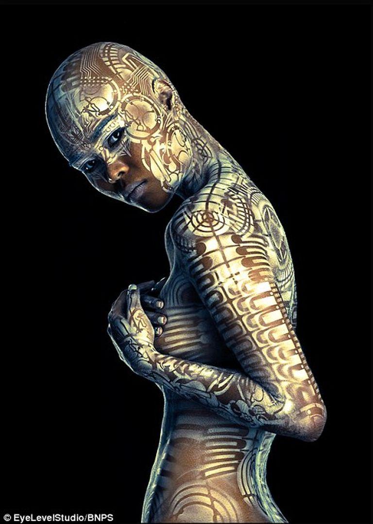 Képzeletbeli lényekké varázsolja a művész a gyönyörű modelleket