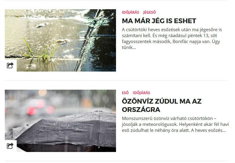 Tényleg borzasztó májusunk van, állandóan ilyen időjárás jelentéseket írunk.