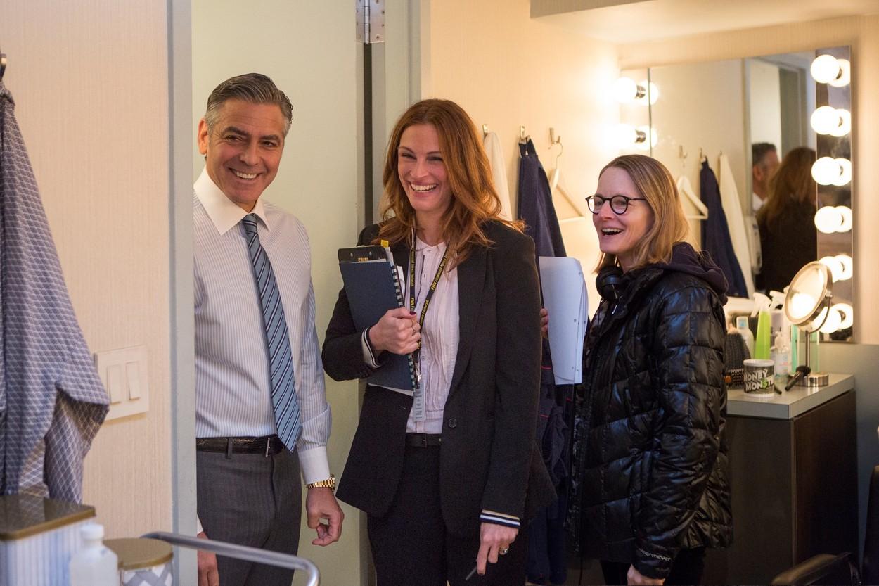 George Clooney, Julia Roberts és Jodie Foster a Pénzes Cápa forgatásán