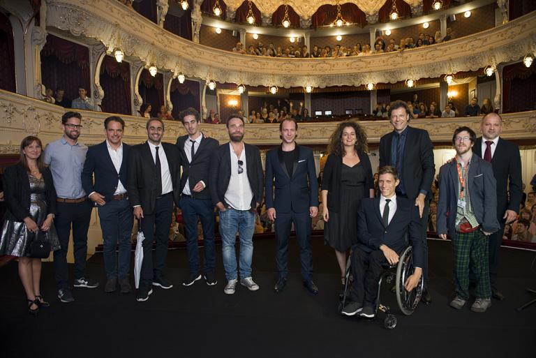 A Tiszta szívvel stábja a Karlovy Vary-i Filmfesztiválon (a kép jobb szélén Fekete Ádám)