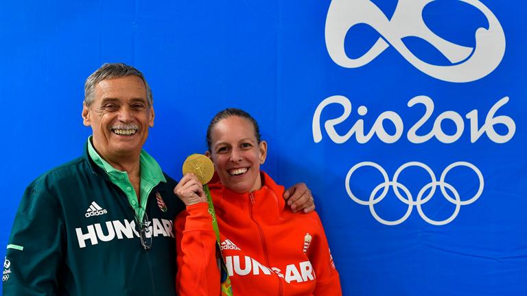 Szász Emese edzőjével, Kulcsár Győzővel