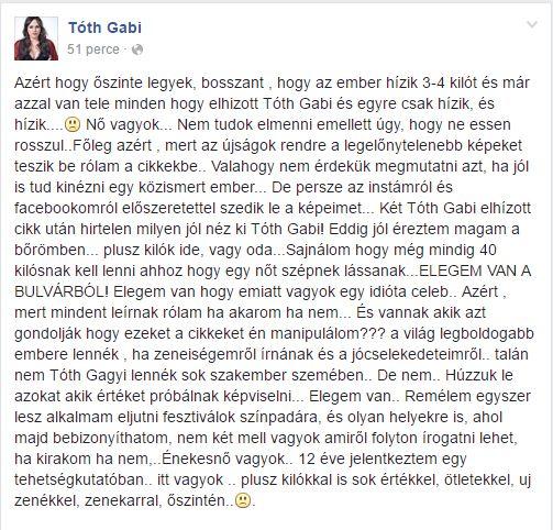 Tóth Gabi besokallt, joggal akadt ki