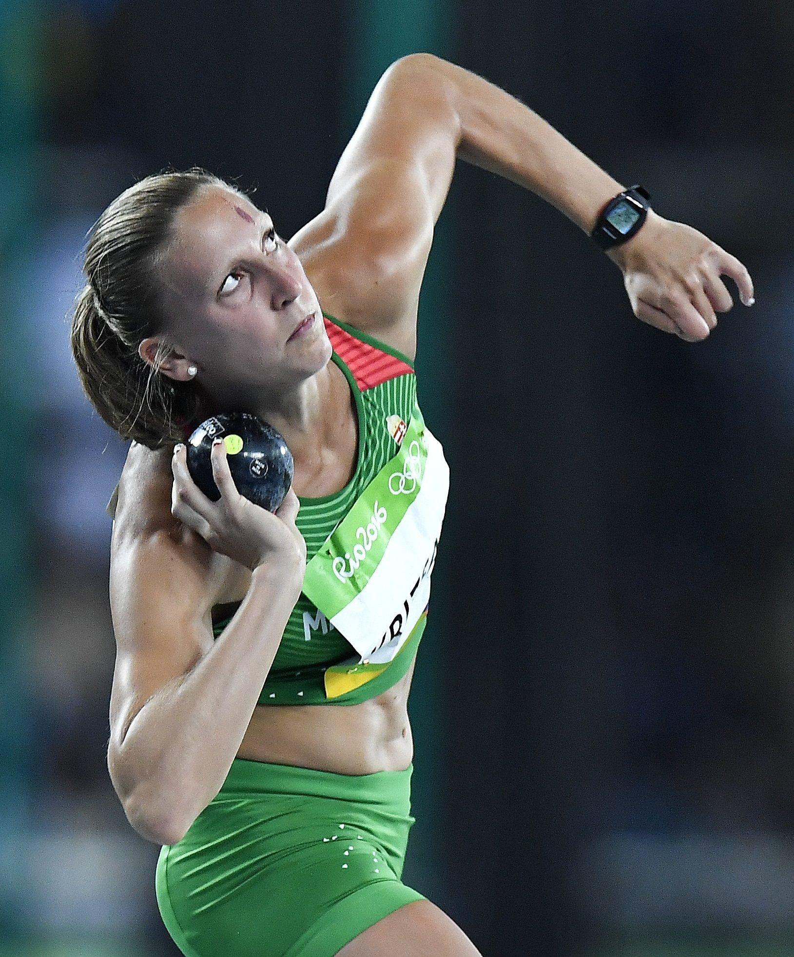 Krizsán Xénia a riói nyári olimpia női hétpróba súlylökés versenyszámában (Fotó: MTI)