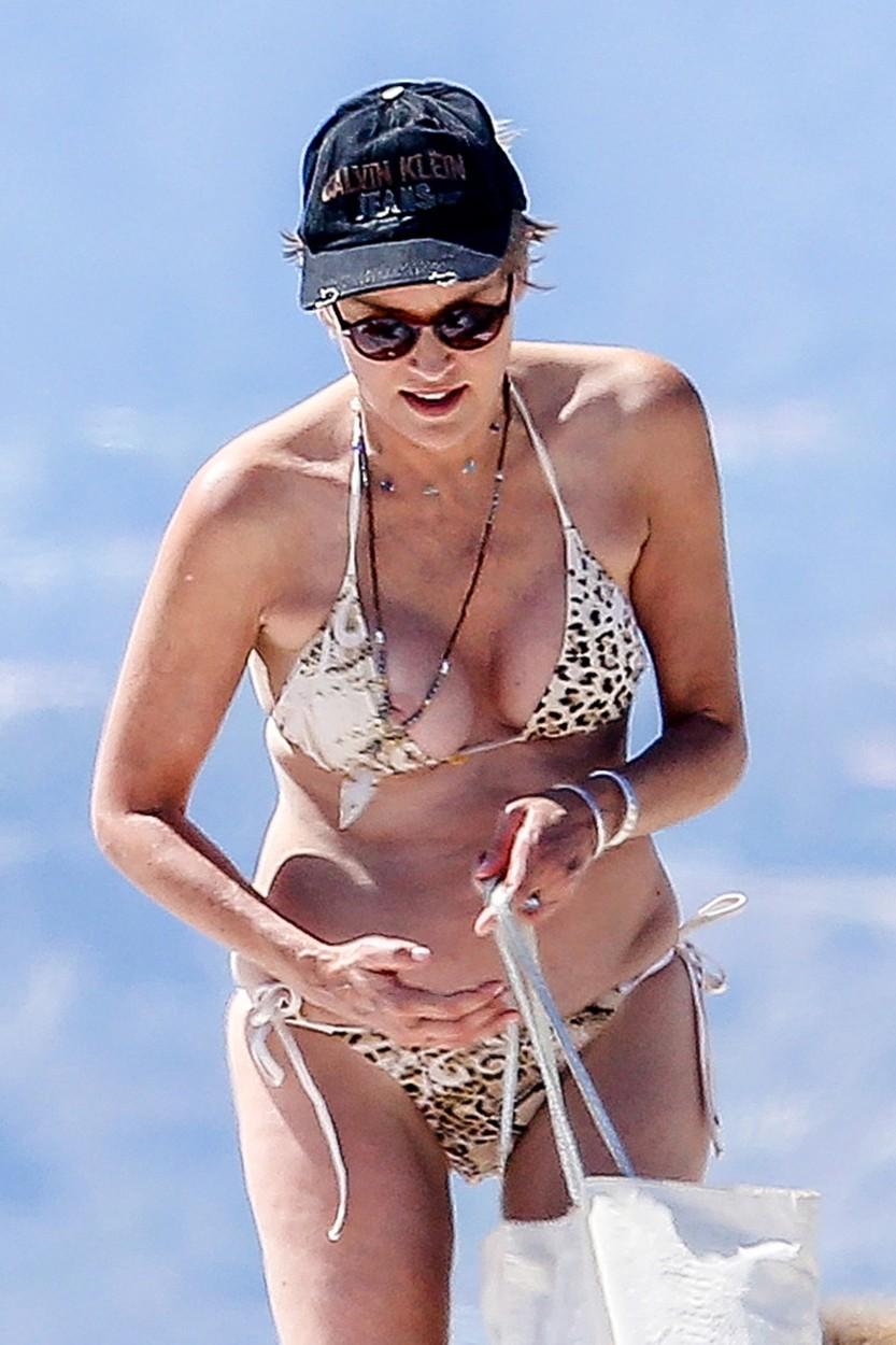 Sharon Stone mellbimbóját is napoztatta a strandon