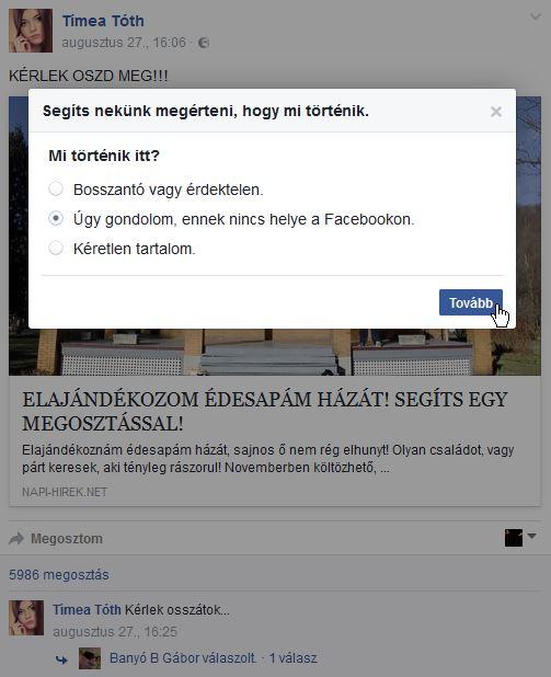 A hasonló posztokat nyugodtan jelentsük a Facebook üzemeltetőinek, elvégre semmi keresnivalójuk a hírfolyamunkban
