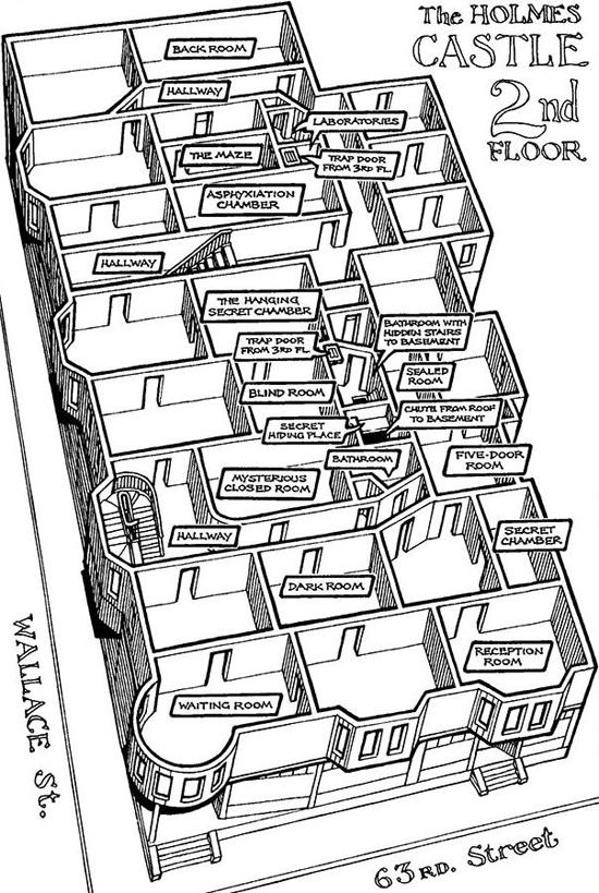 A Kastély második emeletének alaprajza a korabeli újságcikkek alapján