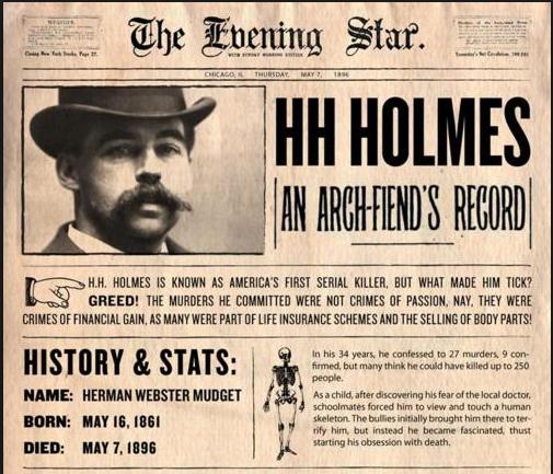 1896-os újságcikk Holmesról