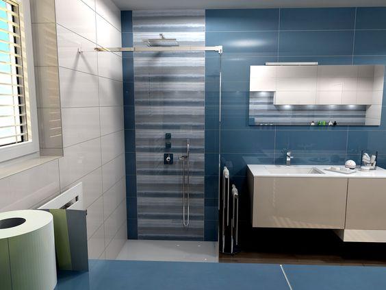 A fürdőszobában egyáltalán nem szokatlan a kék szín. De itt is érdemes az egyik falat fehérrel kombinálni.